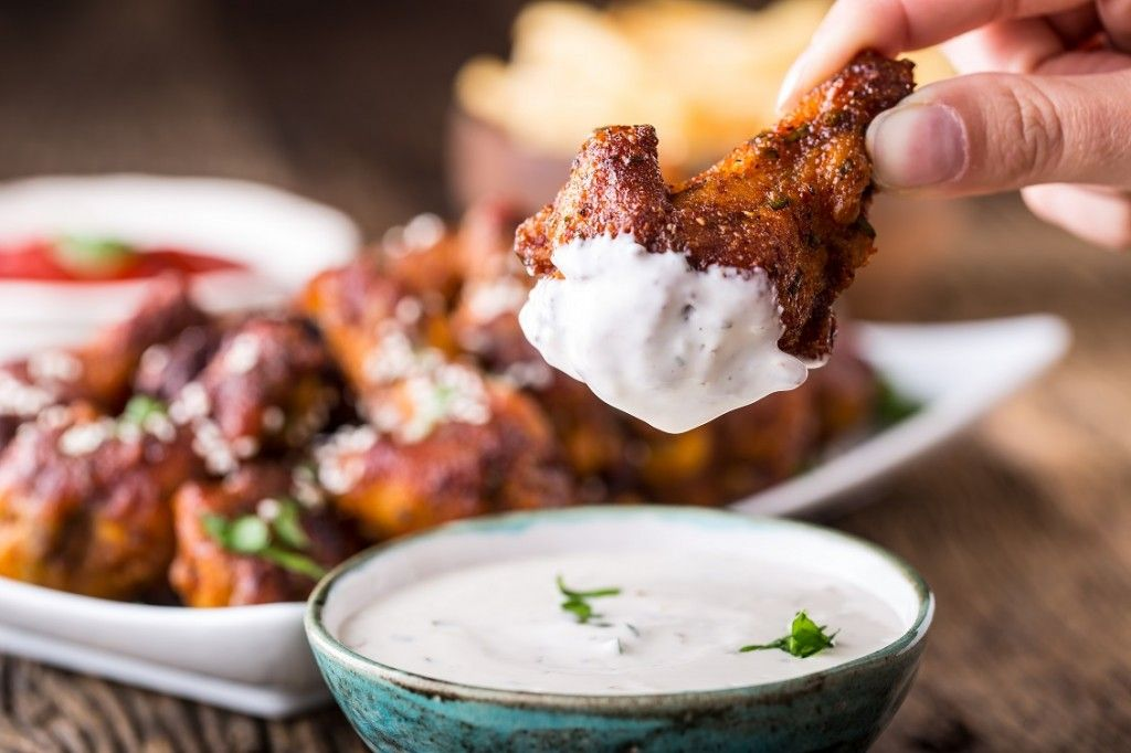 BBQ white sauce and chicken wings