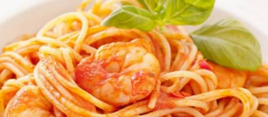 scampi in romige tomatensaus met tagliatelli 2