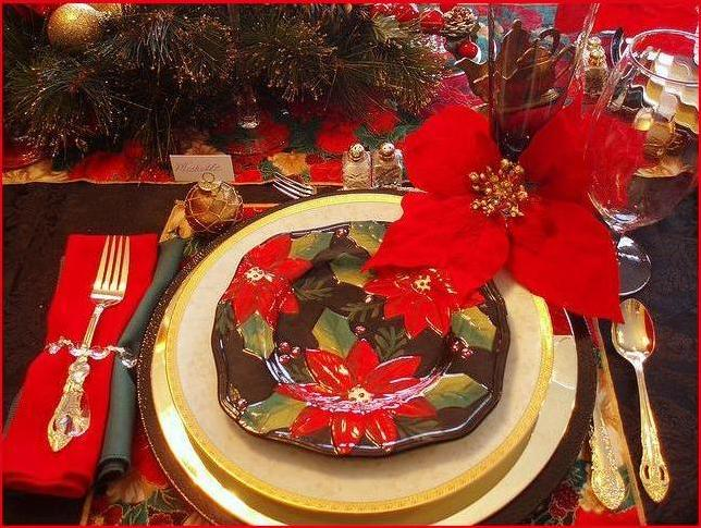 Tropical Poinsettia at the dinner table for Christmas