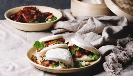Steamed buns met Chinese speklapjes